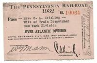 Pennsylvania Railroad 1932 Atlantic Division Pass