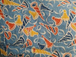 """Vintage Feed Sack ~ blue w/ yellow red blue party hats uncut 33""""x45"""""""