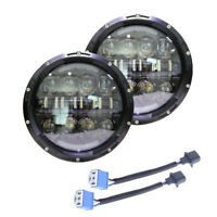 "PAIR LED Headlights BLACK CRYSTAL 7"" lights Headlamps for Land Rover Defender"