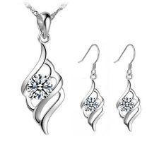 Sterling Silver Cubic Zirconia Angel Wing Pendant Drop Earrings Necklace Set Box