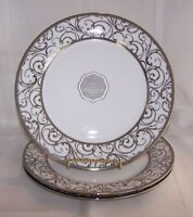 "Ciroa Luxe Veluto Platinum Scroll Set of 3 Dinner Plates 10.5""  NEW"