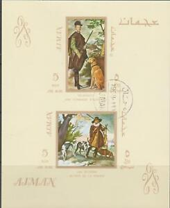 Ajman  Fine Art - Hunter & Dogs  SS   CTO  NH