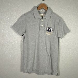 Abercrombie Fitch Polo Shirt Mens Small Gray Short Sleeve Football Patch Cotton