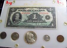 1935 CANADA GEORGE V Commemorative 6pc SET One Dollar Note & COINS XF-BU #13B49