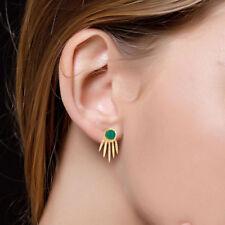 Green Onyx Party Wear Drop Earrings 14K Gold Plated Brass Designer Jewelry