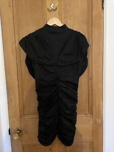 Wendy & Jim Couture Vintage Black Cotton Open Back Womens Dress Ruched UK6-8