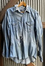 New listing vtg 80s distressed real wrangler cowboy pearl snap work shirt grunge yellowstone