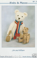 JIM & WILLIAM Knits & Pieces Sandra Polley Teddy bear knitting pattern KP-11