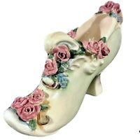 Vintage Porcelain Mint Green Shoe Pincushion W/Gilding, Pink Roses & Blue Flower