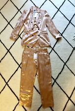 BNWT MANGO NUDE ROSE GOLD SATIN Double Breasted SUIT BLAZER & TROUSERS 34 6 8 S