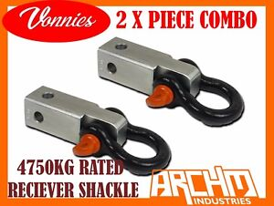 2 X VONNIES RECOVERY TOW POINT HITCH RECEIVER BOW SHACKLE 2 INCH  4WD / 4X4 KIT