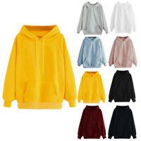 Women Plain Hoodies Hooded Ladies Oversize Jumper Loose Long Sleeve Sweatshirts