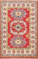 Geometric Super Kazak Vegetable Dye Oriental Area Rug Hand-Knotted Wool 3x4 RED
