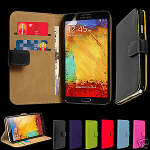 Genuine Real Leather Wallet Slim Case Cover for Samsung Galaxy Note 3 N9000
