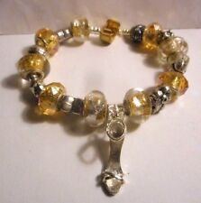 One of a kind Charm Bracelet with Murano style glass beads and silver tone charm