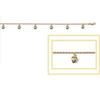 Bracelet Pampille Cœurs pendants Plaqué or 18 Carats  Bijoux Femme
