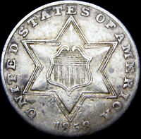 1858 Silver Three Cent Piece 3cp ---- Type Coin NICE ---- #B173
