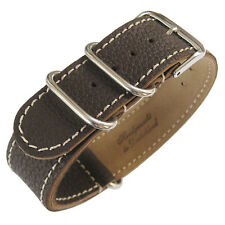 24mm Fluco Germany 2-Piece Mens Brown Leather MoD G10 Military Watch Band Strap