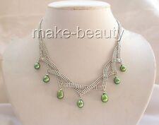 grüne Süßwasser Perlenkette, 37-46 cm