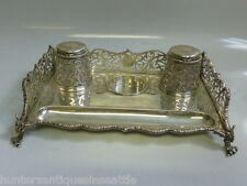 Antique English Hallmark Sterling Silver Inkwell set