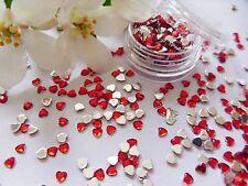 3D Nail Art 'Red Ruby' 3mm Rhinestone Hearts Pot Flat Back app 400pcs Gems Tips