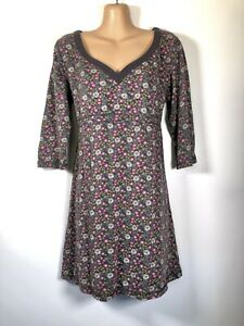 FAT FACE Vintage Grey, Pink & Green Floral jersey Long-sleeve Tunic Dress, 14