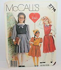 McCalls Sew Pattern 2716 Girls Dress Size 8 Vintage School Uniform