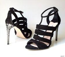 new $860 PRADA MIU MIU black suede T-strap JEWELED HEEL shoes R 39 L 38.5 8.5 8