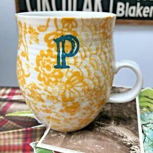 Beautiful Anthropologie Homegrown Monogram P Yellow Floral Large Mug VGC