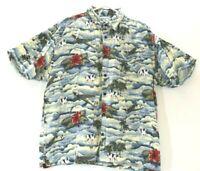 Big Dog Authentic Men's Large Short Sleeve Rayon Hawaiian Shirt Palm Tree Beach