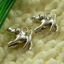 free ship 102 pieces tibetan silver dog charms 17x16mm S2947