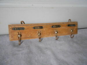 Vintage French Wood TOWEL RACK HOLDER : 4 black labels & hooks