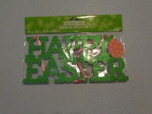 Happy Easter Glitter Hanging Sign Green Pink Easter Decoration Easter Egg