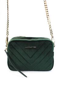 Lancaster Womens Velvet Crossbody Shoulder Handbag Green
