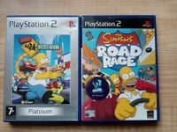 PS2 The Simpsons Hit & Run & Road Rage Bundle PlayStation 2- Tested - Kids Games