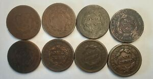 Lot of 8 US Large Cents Circ !! 1818 - 1854