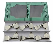 Kluson Locking Modern Round Back Metal Tulip Tuners Machine Heads 3x3 Nickel