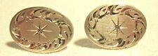 STERLING SILVER BRIGHT CUT CUFF LINKS WITH SMALL STONE