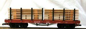 LGB 4169 D. & R. G. W. FLAT CAR W/ WOOD LOAD