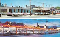 IL Chicago OLYMPIC OLDSMOBILE Auto Dealership @ night 1959-64 Mint postcard B26
