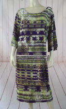 Mlle Gabrielle Dress 3X Purple Green Brown Abstract Poly Spandex Pullover New