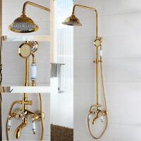 Bad Luxus Gold Dusche System Set Regen Kopf Badewanne Mischer Wasserhahn