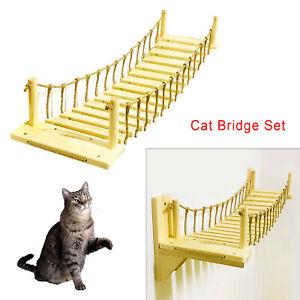 Cat Bridge Climbing Frame Wall Mounted Wood Tree House Bed Sisal Scratchin