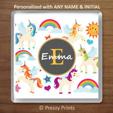 Childrens Personalised Unicorn Drinks Coaster Cup Mat Birthday Xmas Gift