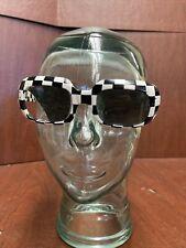 Vintage 1960's Oversized Retro Checkered Women's Sunglasses Mike Richards France