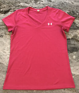 Women's S Under Armour Shirt Pink V-neck Silver Logo Polyester Stretch