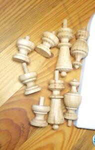 Wood Finials For Ansonia Triumph, F Kroeber Occidental Clock, 6 pieces