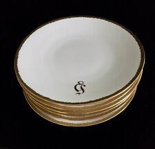 """Antique JPL J POUYAT LIMOGES Set of 6 Plates 9"""" Gold Rimmed Monogrammed"""
