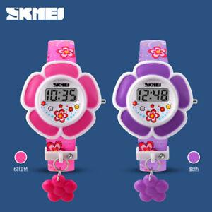 SKMEI Kids Watches Girls Flower Digital Watch Pink Purple Children Birthday Gift