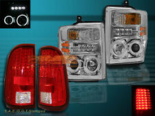 08-10 FORD F250/F350/F450 CHROME PROJECTOR HEADLIGHTS CCFL HALO &TAIL LIGHTS RED